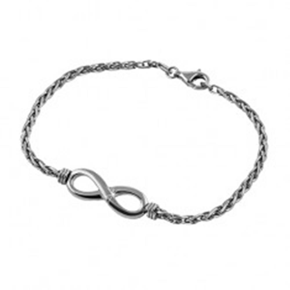 Šperky eshop Strieborný 925 náramok tmavosivej farby, lesklý symbol INFINITY