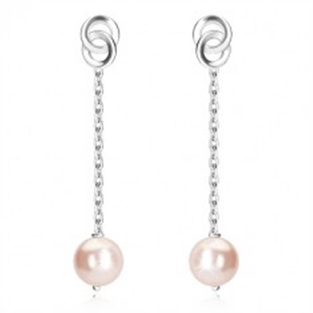 Šperky eshop Retiazkové strieborné náušnice 925 - svetloružová guľôčka, lesklá retiazka, dva prepletené kruhy