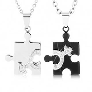 Náhrdelníky pre dvojicu z ocele 316L, puzzle dieliky v dvoch farbách