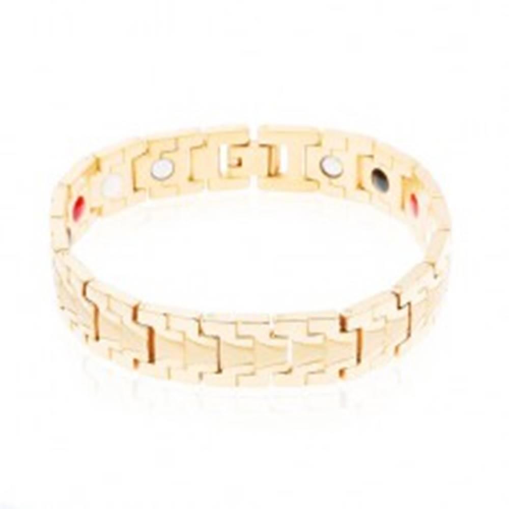 Šperky eshop Náramok z chirurgickej ocele zlatej farby, lesklé články s matným stredom