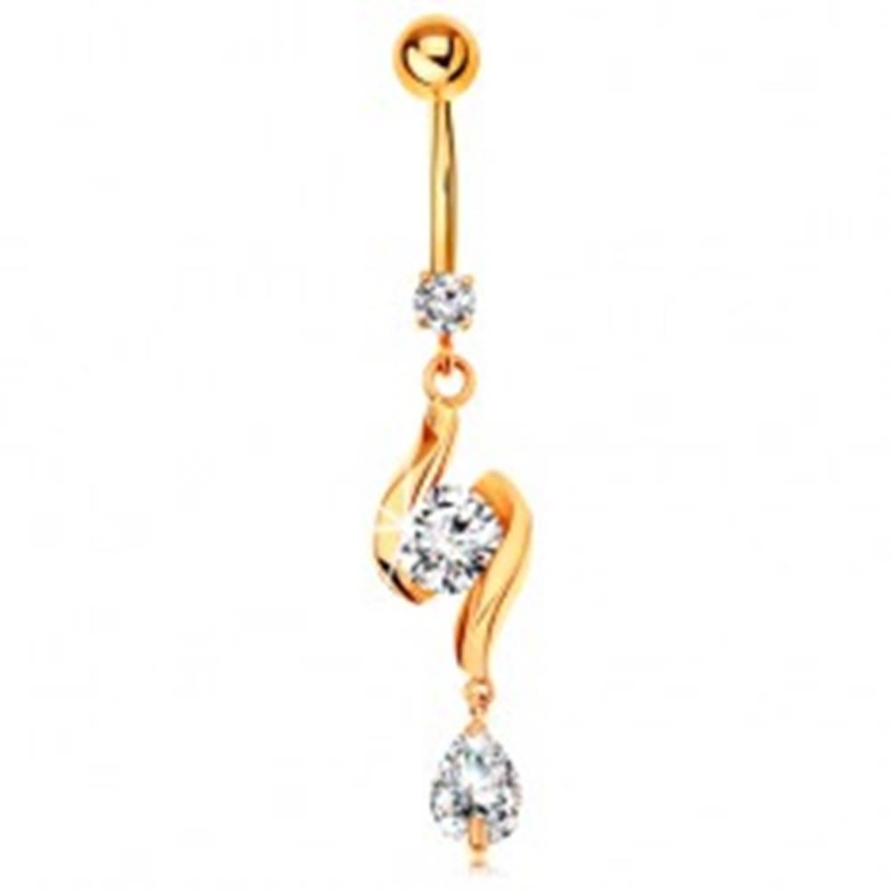 Šperky eshop Zlatý 375 piercing do pupku - dve lesklé vlnky so zirkónom v strede a slza