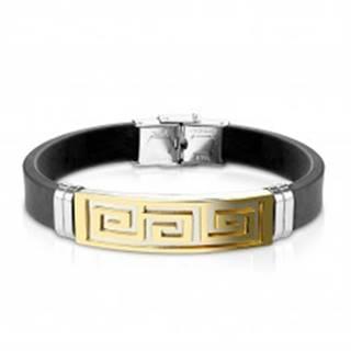 Náramok z čiernej gumy, oceľová známka s gréckym kľúčom zlatej farby
