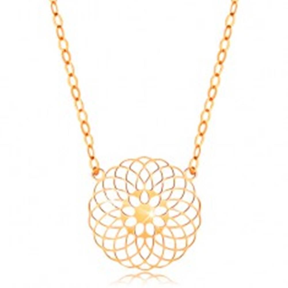 Šperky eshop Náhrdelník v žltom 14K zlate - okrúhly vyrezávaný kvet, lesklá retiazka