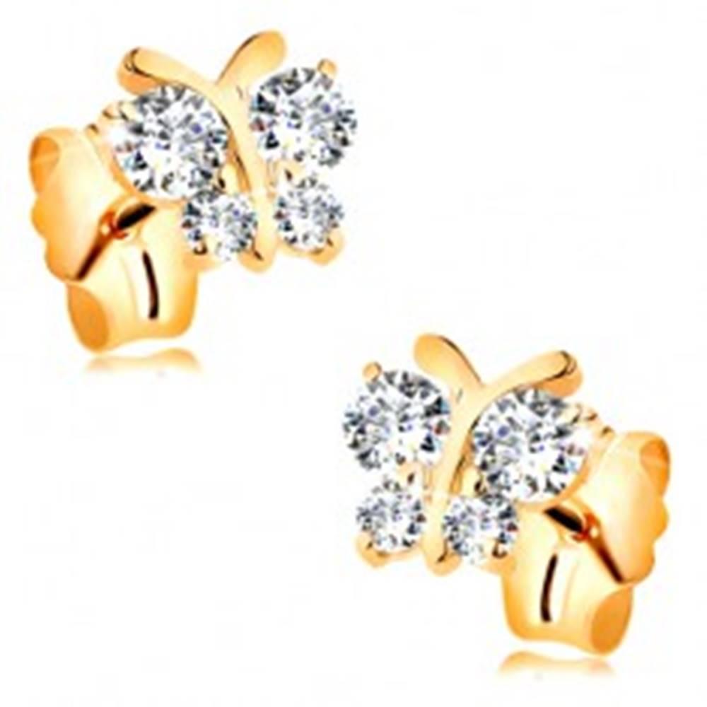 Šperky eshop Náušnice zo žltého 14K zlata - ligotavý motýľ s čírymi okrúhlymi zirkónmi
