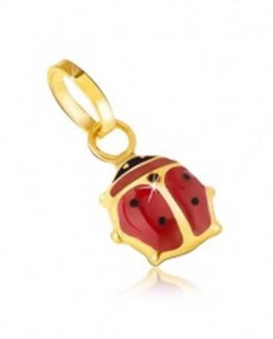 Zlatý prívesok 585 - maličká glazúrovaná červeno-čierna lienka