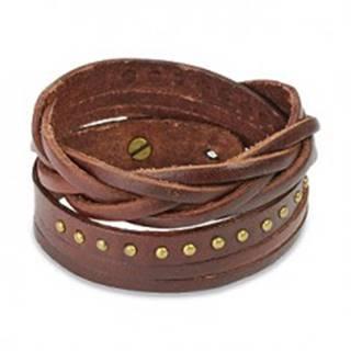 Hnedý kožený náramok - vybíjané kruhy a pletenec