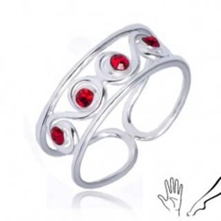 Prsteň zo striebra 925 - esíčkový vzor s červenými kamienkami