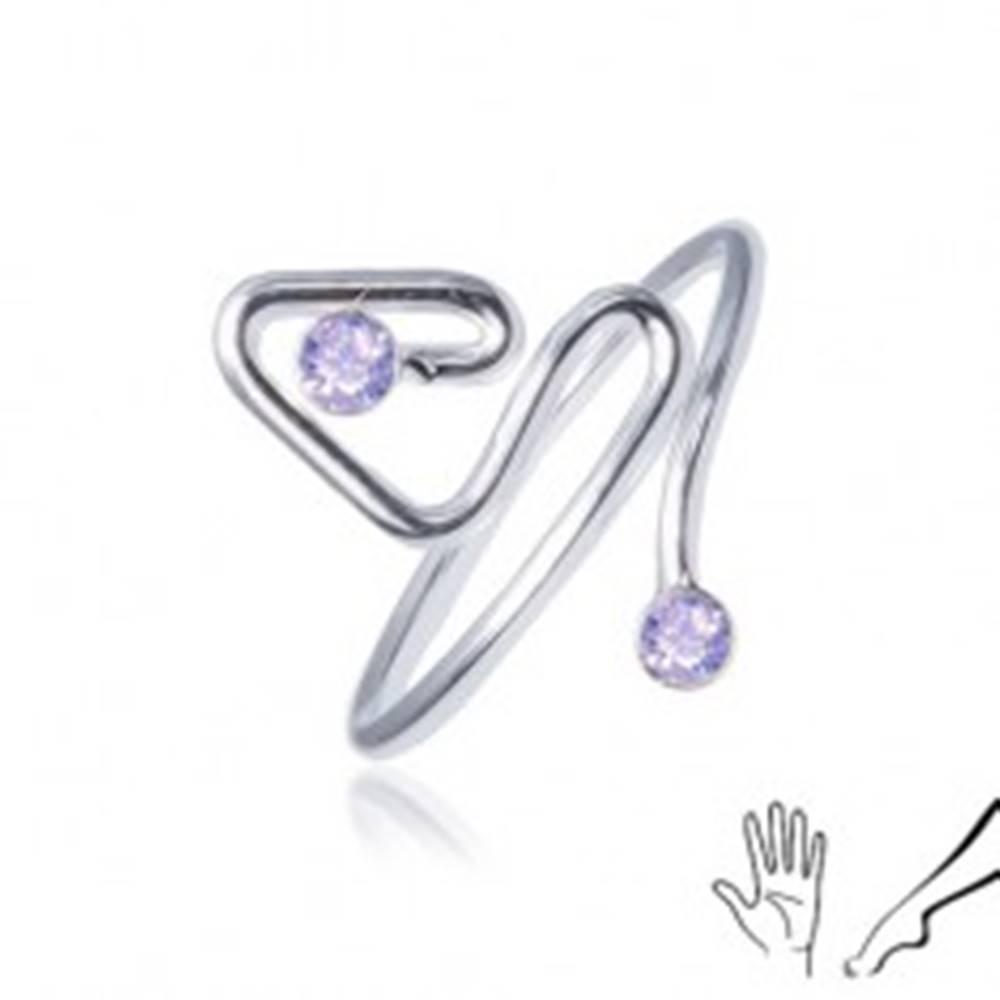 Šperky eshop Prsteň zo striebra 925, zahnutá línia ukončená fialovým kamienkom