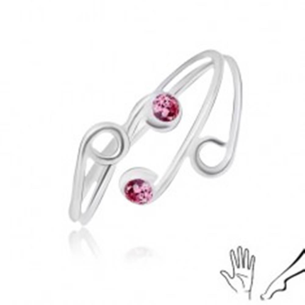Šperky eshop Strieborný prsteň 925 na ruku alebo nohu, rozvetvené ramená s ružovými zirkónmi