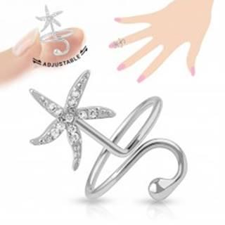 Nastaviteľný prsteň na necht, ligotavá morská hviezdica, lesklá gulička
