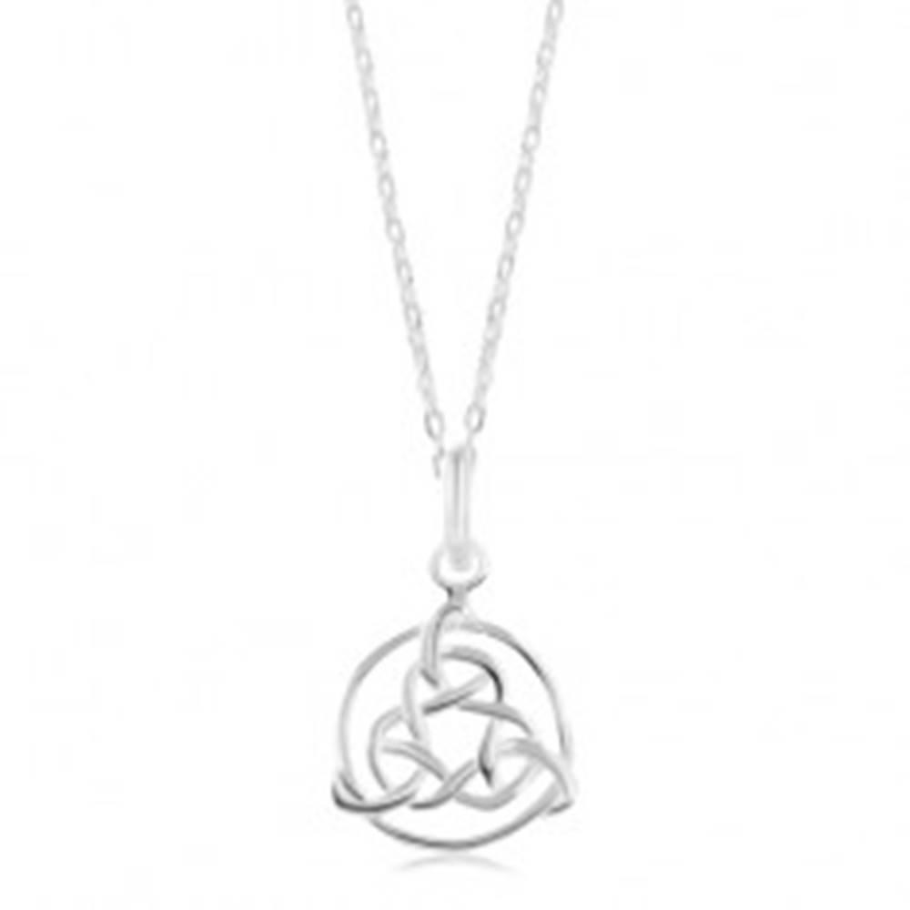 Šperky eshop Náhrdelník zo striebra 925, lesklá retiazka, keltský symbol v obryse kruhu