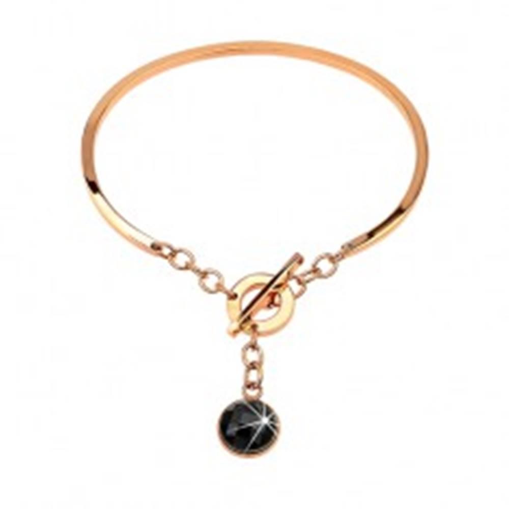 Šperky eshop Oceľový náramok medenej farby, neúplný ovál s visiacim čiernym zirkónom