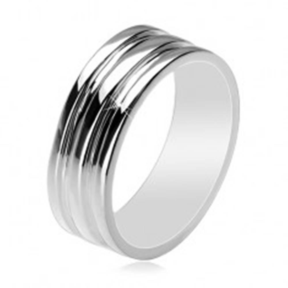 Šperky eshop Strieborný 925 prsteň - obrúčka s dvomi vyhĺbenými pásmi, 8 mm - Veľkosť: 61 mm