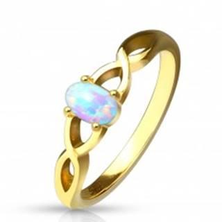 Oceľový prsteň zlatej farby - syntetický opál s dúhovými odleskami, prepletené ramená - Veľkosť: 49 mm
