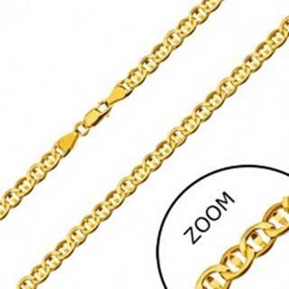 Retiazka zo žltého 14K zlata - ploché očká predelené zrniečkom, 550 mm