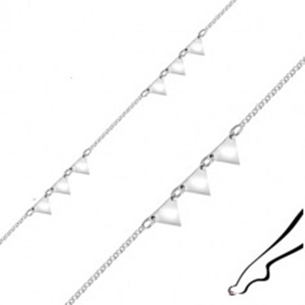 Šperky eshop Náramok na členok zo striebra - zrkadlovo lesklé trojuholníky, hranaté očká