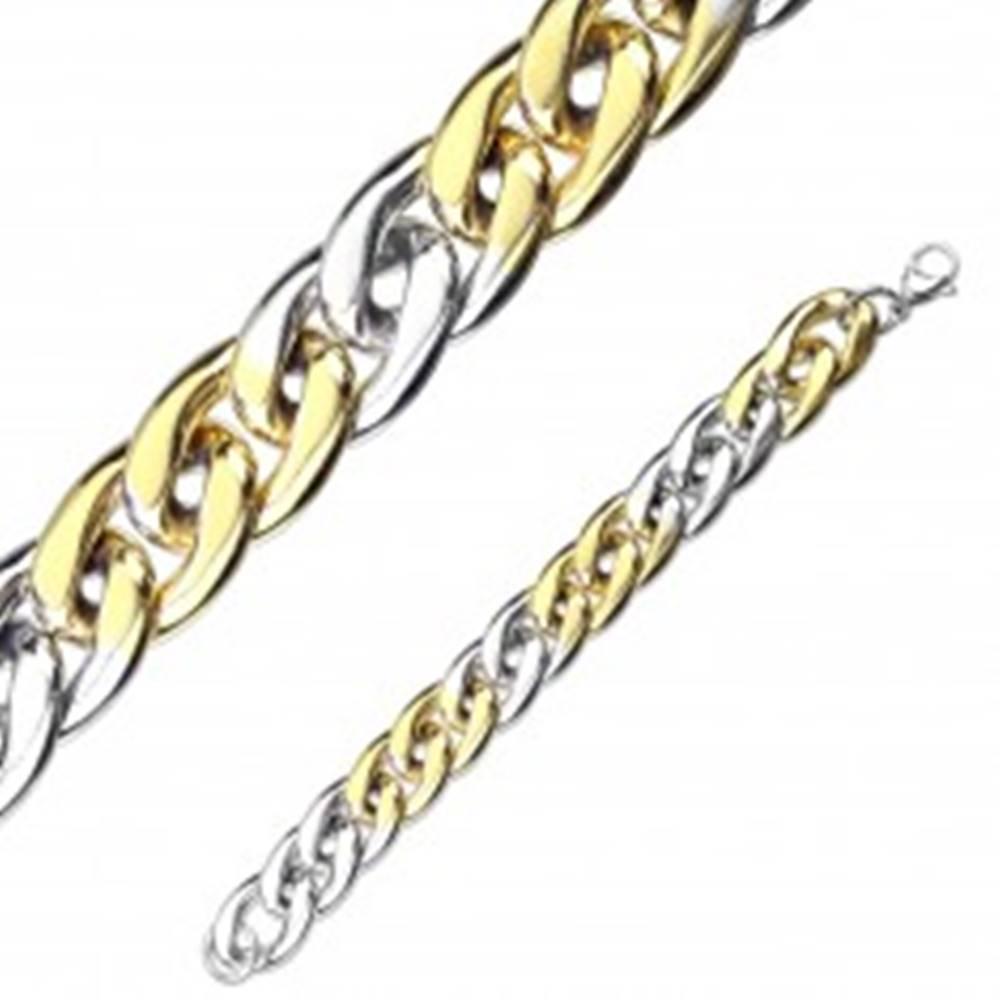 Šperky eshop Náramok z ocele v dvojfarebnej kombinácii - oválne očká, sériové napájanie, 12 mm