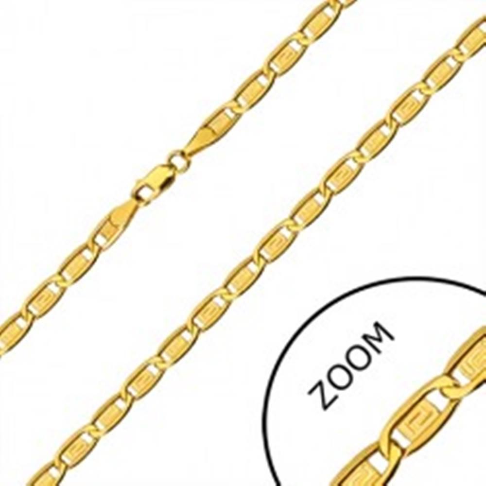 Šperky eshop Zlatá retiazka 585 - podlhovasté očká, obdĺžniky s gréckym kľúčom, 600 mm
