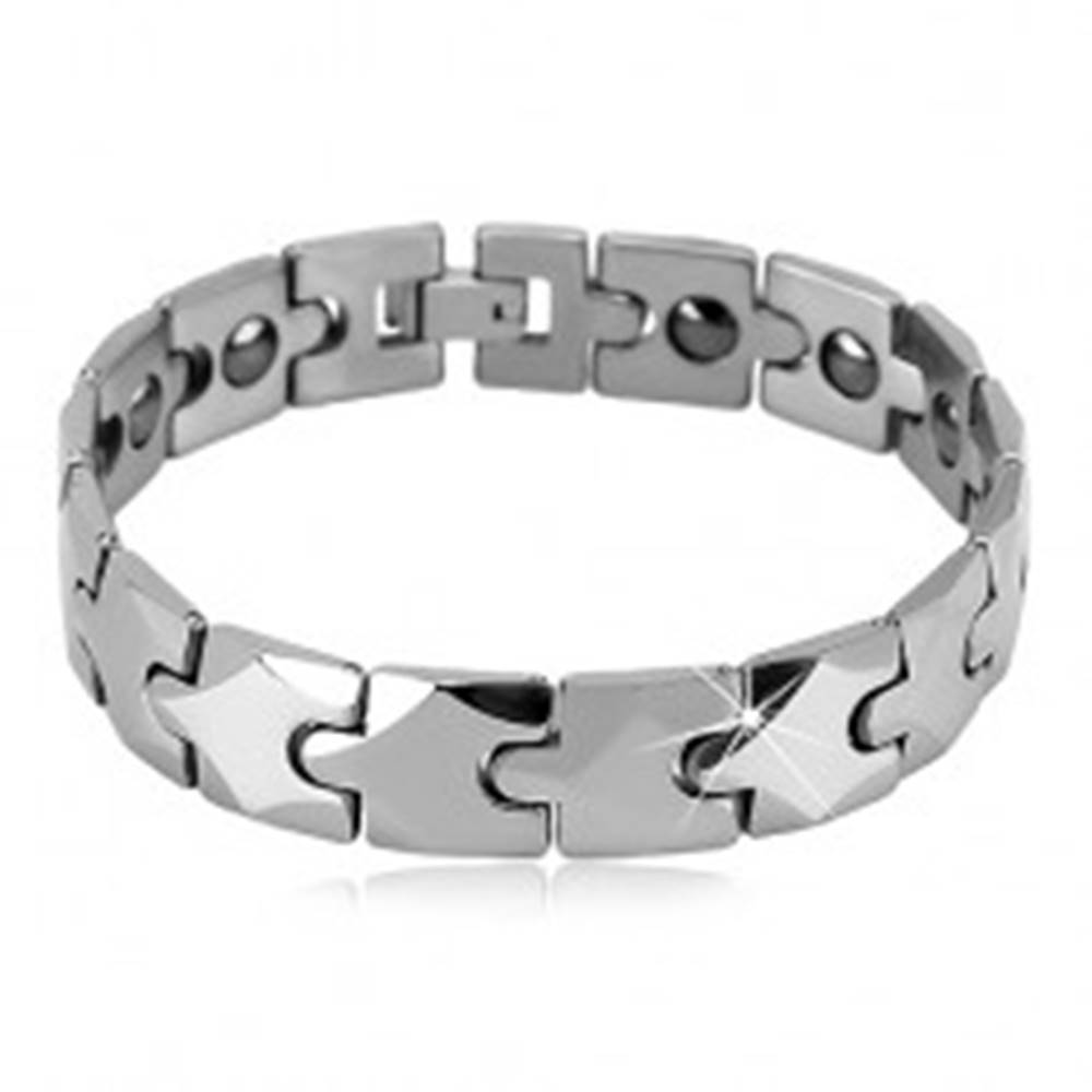 Šperky eshop Wolfrámový magnetický náramok, obdĺžnikové články s kosoštvorcom