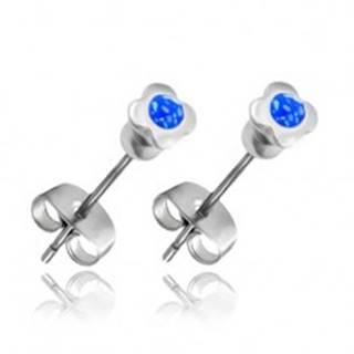 Náušnice z ocele - štvorlístok s modrým zirkónom