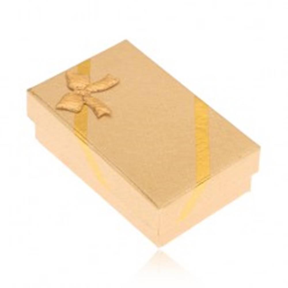 Šperky eshop Krabička na náušnice a prsteň, vzhľad tkaniny zlatej farby, mašľa