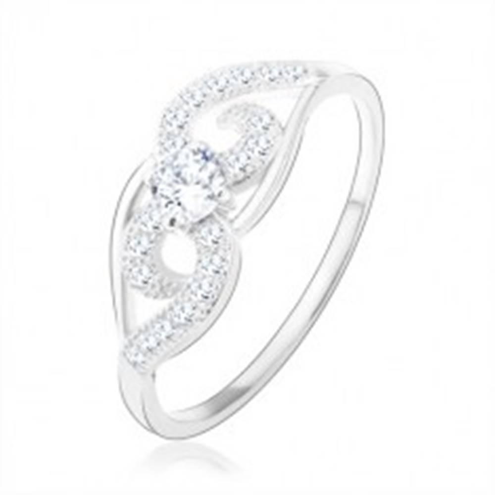Šperky eshop Prsteň, striebro 925, asymetrické zatočené línie, číry okrúhly zirkón - Veľkosť: 48 mm
