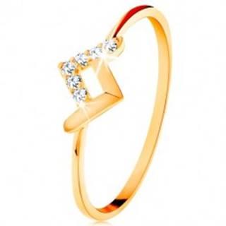 Ligotavý prsteň v žltom 9K zlate - lesklý a zirkónový zalomený pásik - Veľkosť: 49 mm