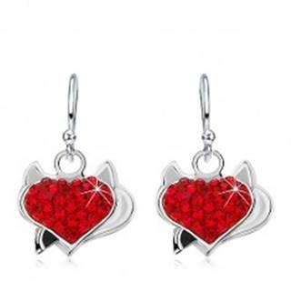 Náušnice zo striebra 925, červené zirkónové srdce s rožkami a čiernym chvostom