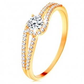 Zlatý prsteň 375 s rozdelenými trblietavými ramenami, číry zirkón - Veľkosť: 49 mm