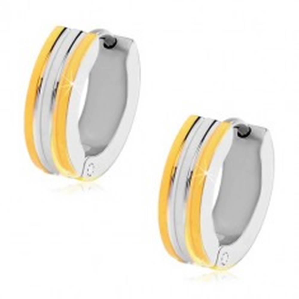 Šperky eshop Kĺbové náušnice z chirurgickej ocele - krúžky, dvojfarebné lesklé pásy
