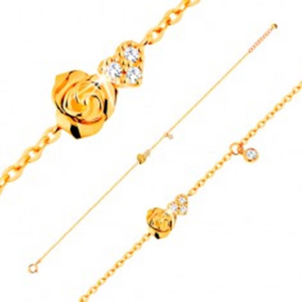 Šperky eshop Náramok zo žltého 14K zlata - ružička a číre zirkónové srdce, 185 mm