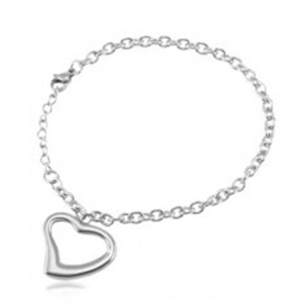 Šperky eshop Oceľový náramok striebornej farby, oválne očká, kontúra srdca