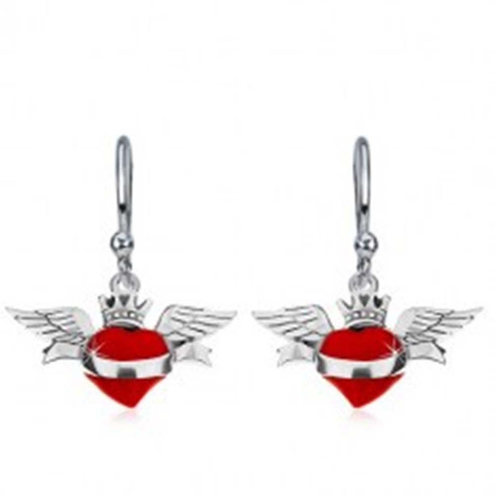 Šperky eshop Strieborné náušnice 925, červené okrídlené srdce, šerpa, korunka