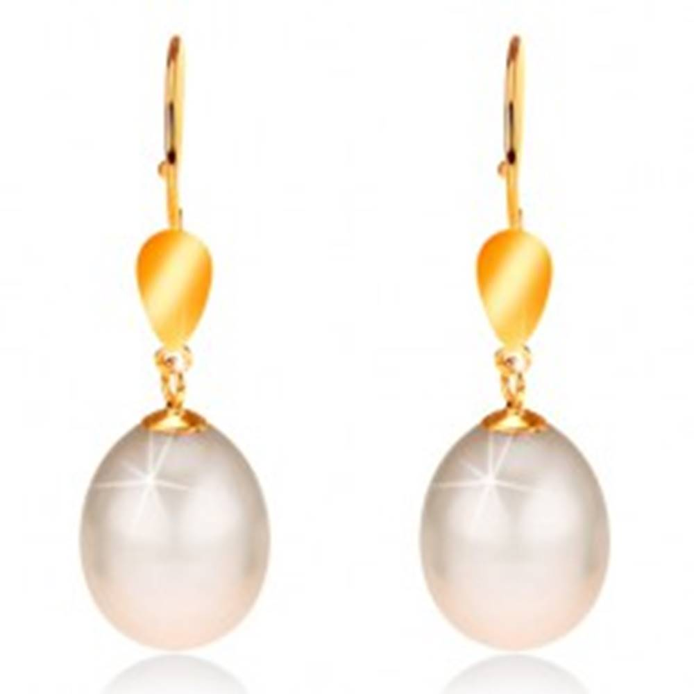 Šperky eshop Zlaté 14K náušnice - lesklý ovál, veľká perla smotanovej farby, háčiky