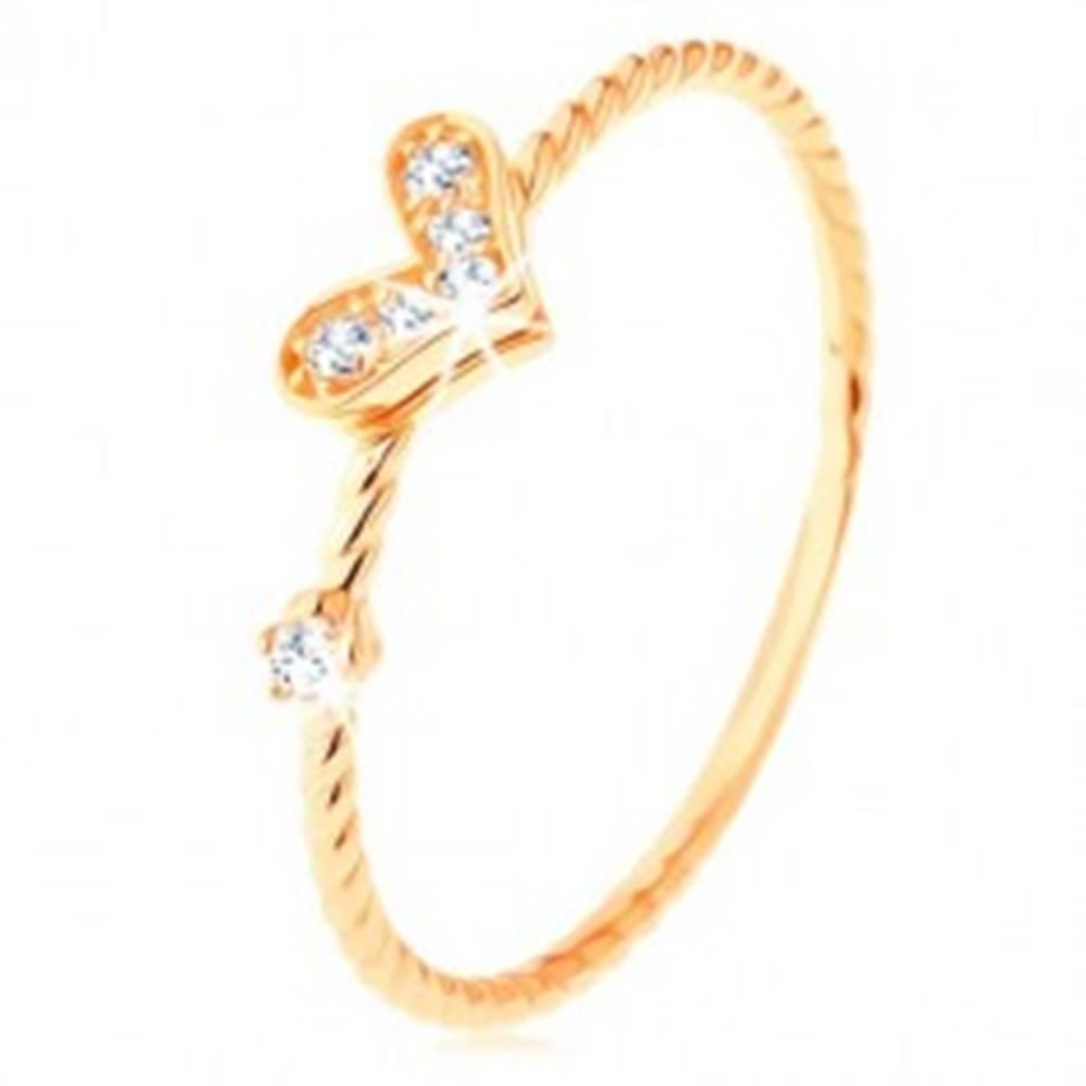 Šperky eshop Zlatý prsteň 375, špirálovito zatočené ramená, trblietavé srdiečko, zirkón - Veľkosť: 49 mm