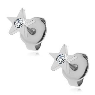 Oceľové náušnice - päťcípa hviezdička so zirkónom, puzetky