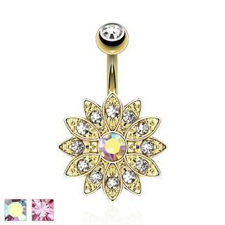 Piercing do pupku, oceľ 316L, zlatá farba, trblietavý zirkónový kvet  - Farba piercing: Dúhová