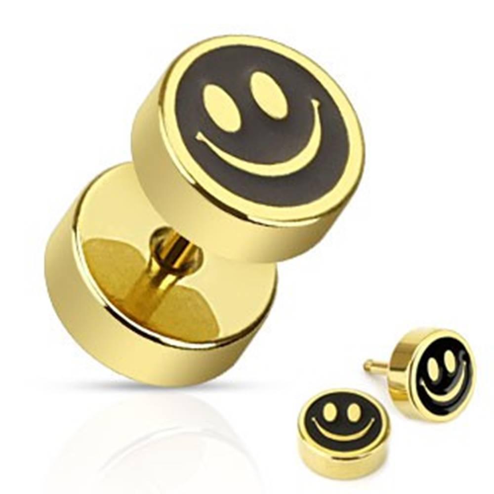 Šperky eshop Fake plug do ucha z ocele - usmiaty smajlík čierno-zlatej farby