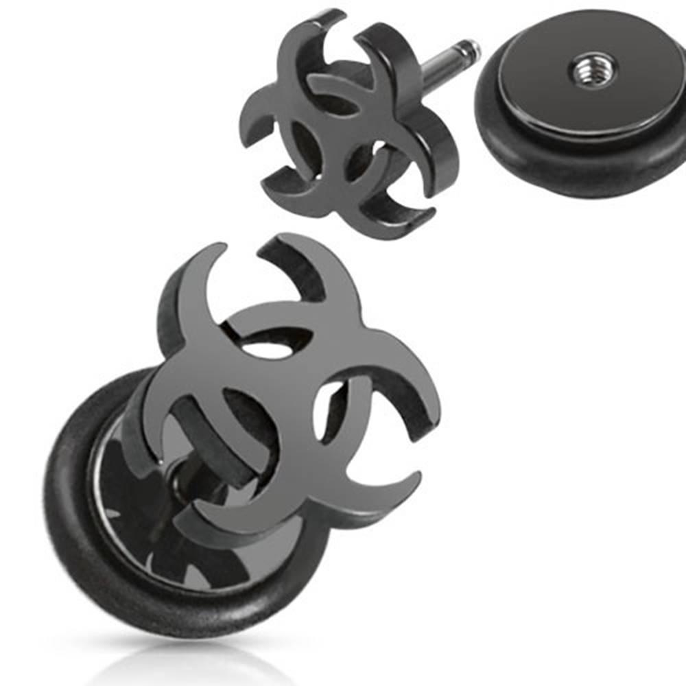 Šperky eshop Falošný oceľový piercing do ucha - čierny symbol biohazardu