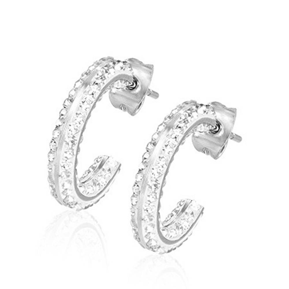 Šperky eshop Náušnice z ocele - kruhový segment, vsádzané číre zirkóny