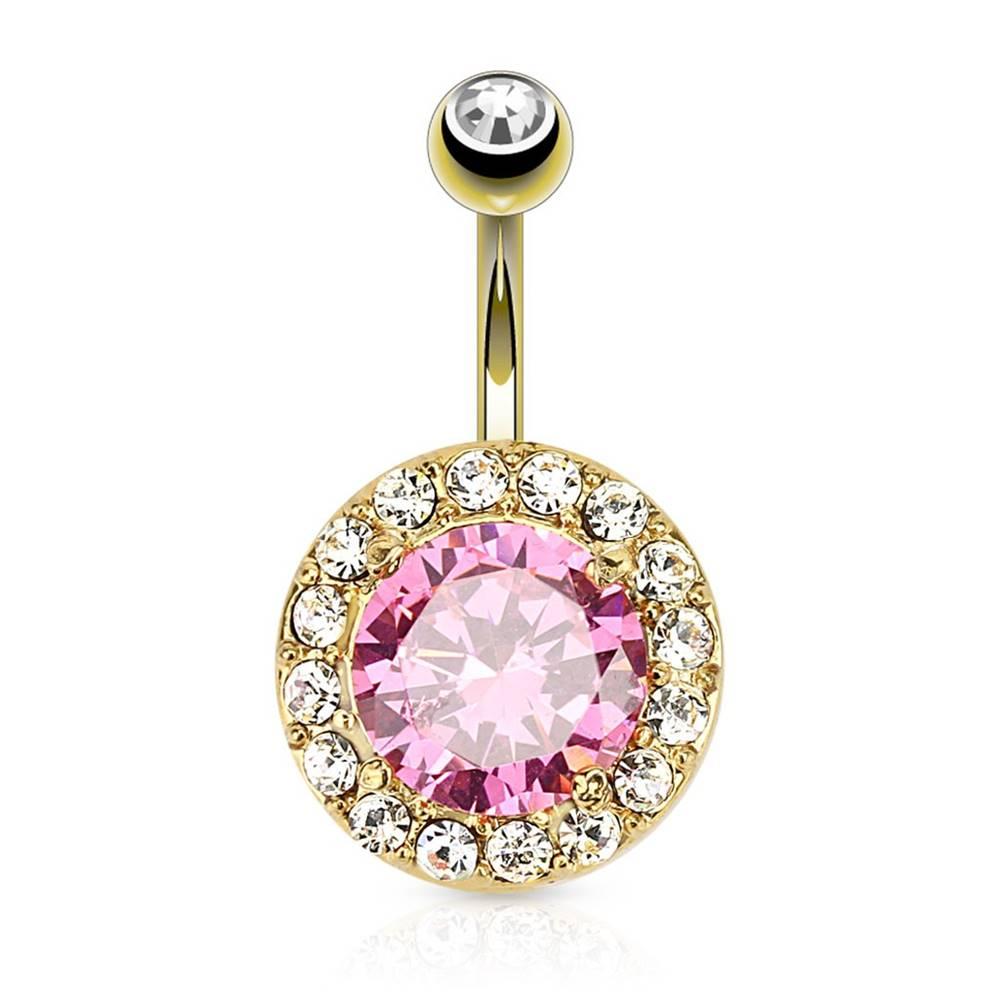 Šperky eshop Oceľový piercing do brucha, zlatá farba, okrúhly ružový zirkón, číry lem