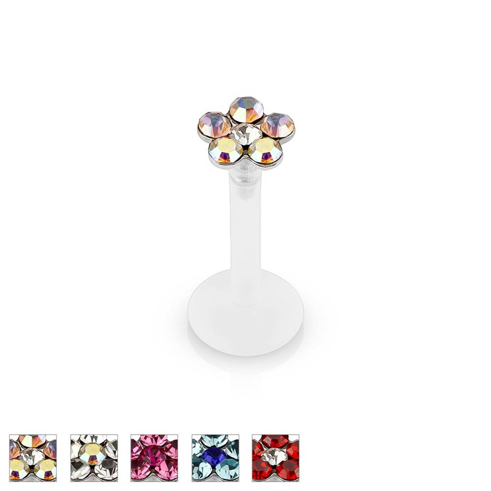 Šperky eshop Piercing do brady a pery so zirkónovým kvetom z bio-flexu, 8 mm - Farba piercing: Červená