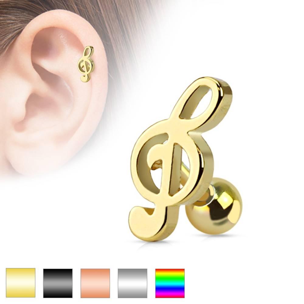 Šperky eshop Piercing do ucha z chirurgickej ocele - husľový kľúč, rôzne farebné prevedenie - Farba piercing: Čierna