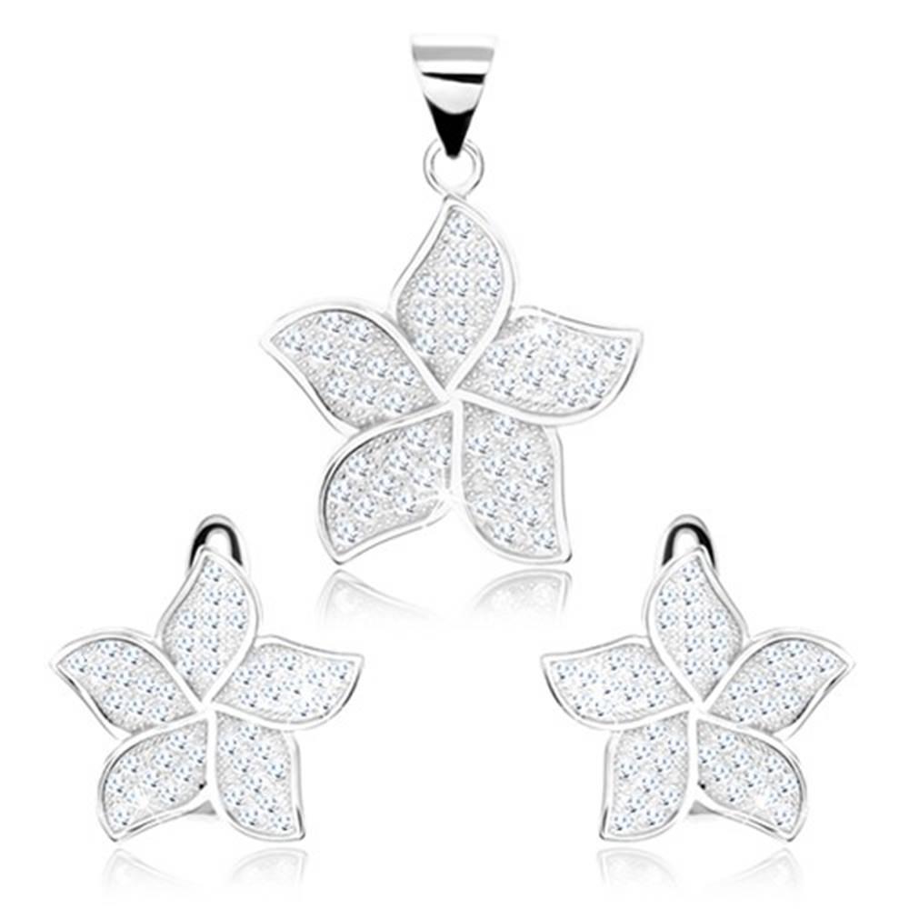 Šperky eshop Strieborný 925 set - náušnice a prívesok, trblietavý kvietok, zirkóny