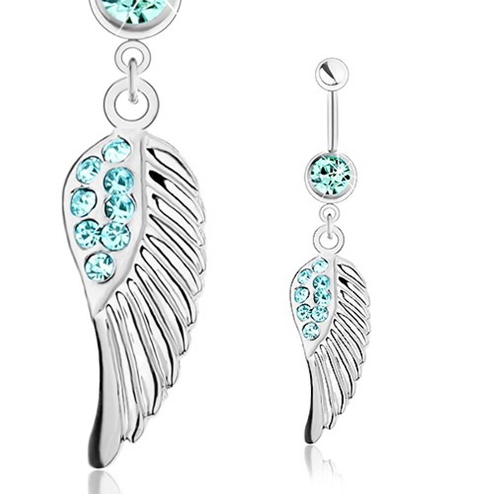 Šperky eshop Piercing do pupka z ocele 316L, strieborná farba, anjelské krídlo, modré zirkóniky