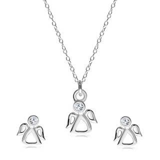 Dvojset zo striebra 925 - náušnice a náhrdelník, vykrajovaný anjelik s čírym zirkónom