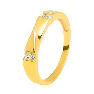 Zlatá obrúčka v 14K zlate - číre zirkóny, lesklá vlnka, hladké ramená, 3,5 mm - Veľkosť: 58 mm