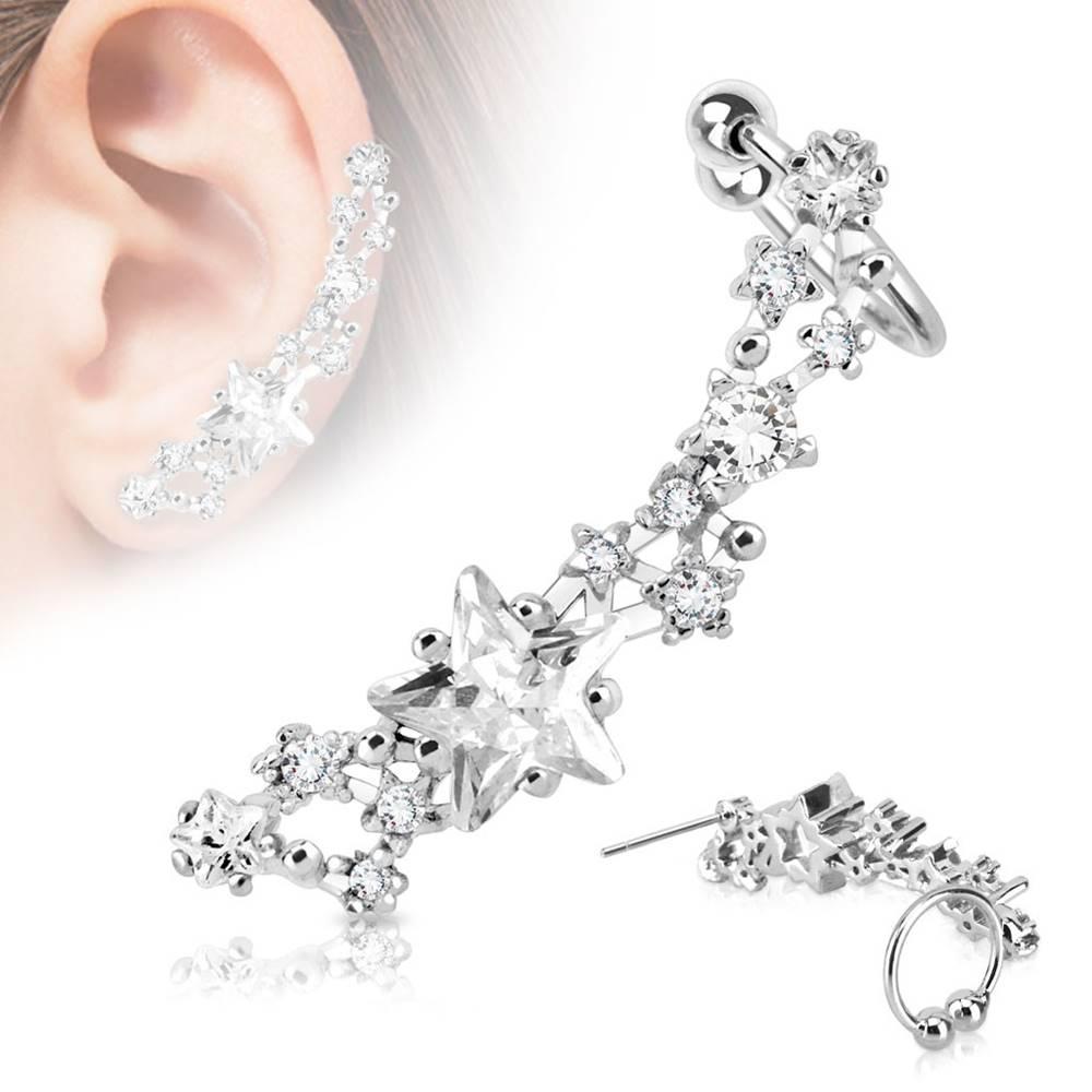Šperky eshop Fake oceľový piercing do ucha striebornej farby, ródiovaný - trblietavé číre hviezdičky - Tvar: Ľavý
