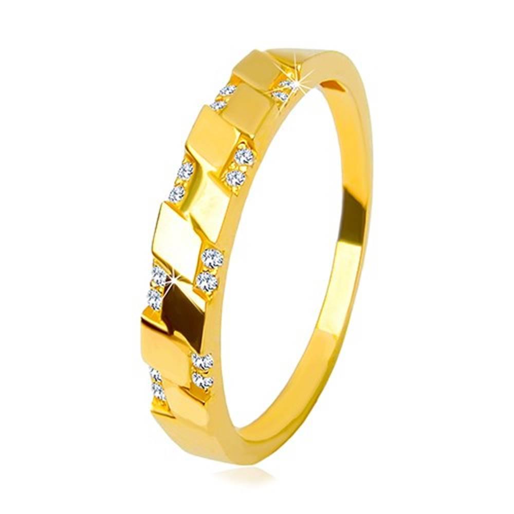 Šperky eshop Prsteň v žltom 14K zlate - trblietavé okrúhle zirkóniky, motív kosoštvorcov - Veľkosť: 49 mm