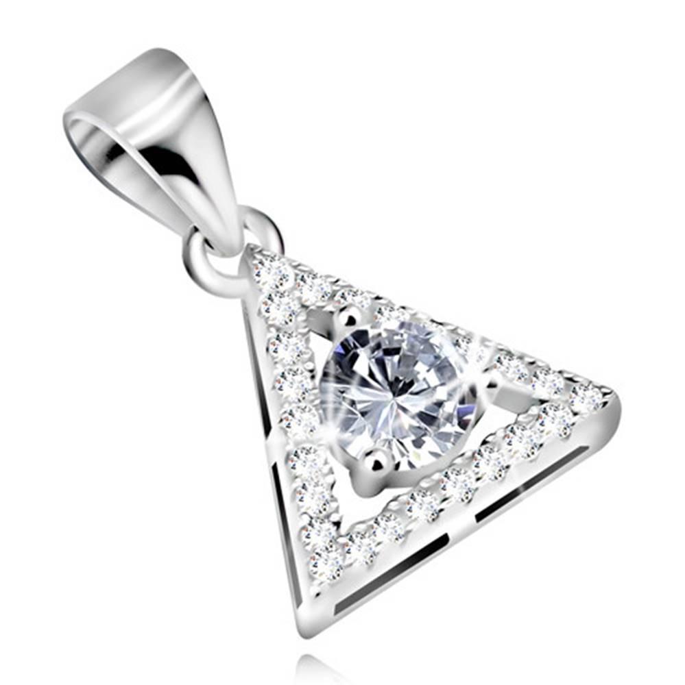 Šperky eshop Strieborný prívesok 925 - kontúra trojuholníka s okrúhlym zirkónom čírej farby uprostred